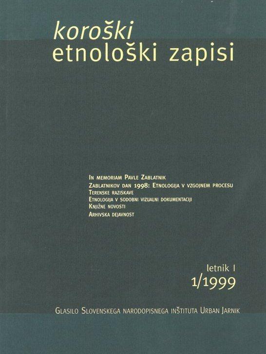 Cover: Koroški etnološki zapisi 1/1999}