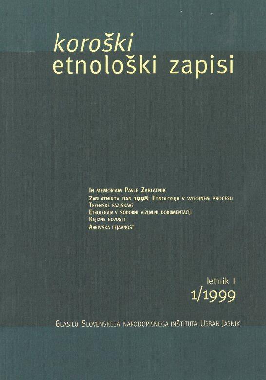 Cover: Koroški etnološki zapisi 1/1999