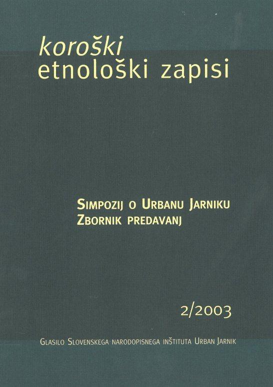 Cover: Koroški etnološki zapisi 2/2003
